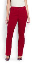 Lands' End Women's Plus Size Mid Rise Straight Leg Corduory Pants-White Canvas