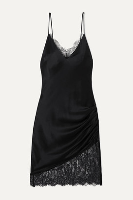 CAMI NYC The Constance Lace-trimmed Ruched Silk-charmeuse Mini Dress - Black