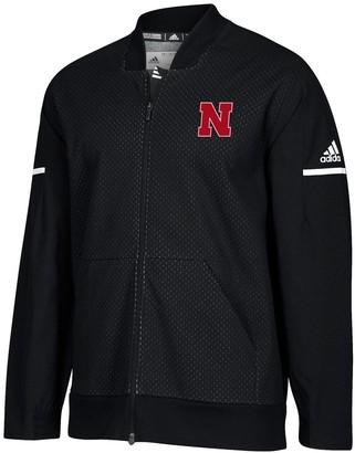 adidas Men's Black/White Nebraska Cornhuskers Squad Bomber Full-Zip Jacket