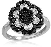 Ice 1 CT TW Round Black and White Diamond Sterling Silver Flower Ring by JewelonFire