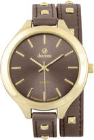 Decree Girls Brown Gold-Tone Stud Wrap Watch