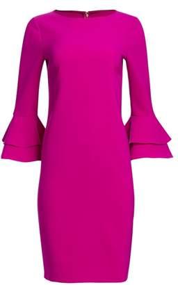 Teri Jon By Rickie Freeman Tiered Bell Sleeve Crepe Dress