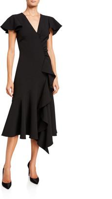 Shoshanna Adrina Midnight Stretch Crepe Cap-Sleeve Asymmetric Midi Dress