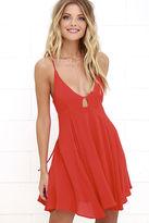 LuLu*s Samana Bay Coral Red Dress