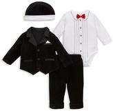 Little Me Infant Boys' 4 Piece Velour Tuxedo Set - Sizes 3-9 Months