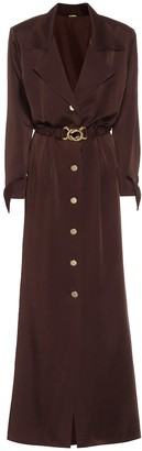 Dodo Bar Or Belted satin maxi shirt dress