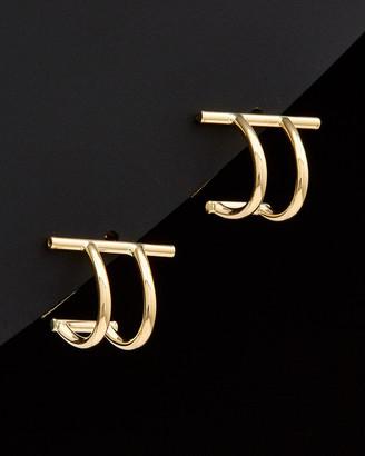 Italian Gold 14K Double Curved Bar Post Earrings