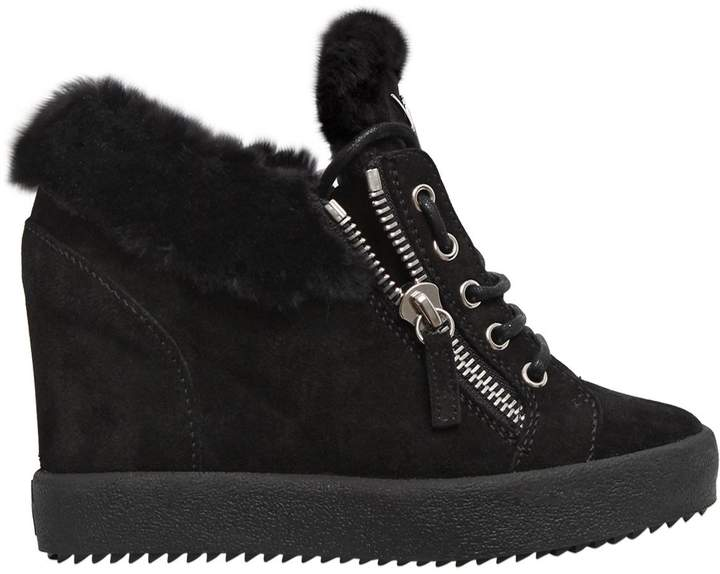 Giuseppe Zanotti Design 90mm Shearling & Suede Sneakers