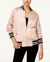 Say What Juniors' Satin Bomber Jacket
