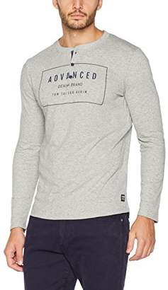Tom Tailor Men's Henley Long Arm Tee Sleeve Top,Large