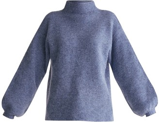 Paisie High Neck Jumper With Balloon Sleeves In Blue Marl