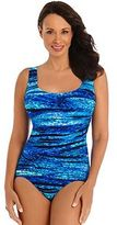 Women's Great Lengths Shades of Blue Tummy Slimmer One-Piece Swimsuit