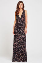 BCBGeneration Printed Surplice Maxi Dress - Brown
