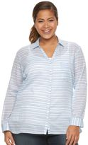 Columbia Plus Size Wiley Mesa Striped Roll-Tab Shirt