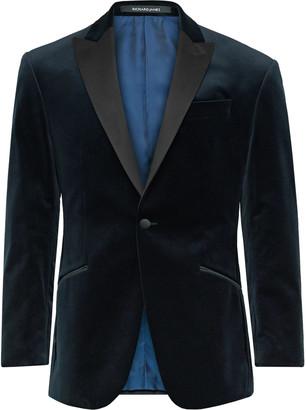 Richard James Navy Slim-Fit Satin-Trimmed Cotton-Velvet Tuxedo Jacket
