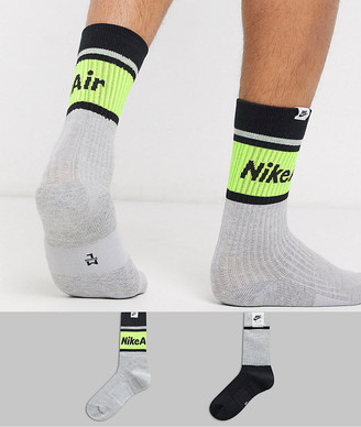 Nike 2 pack socks in grey/black