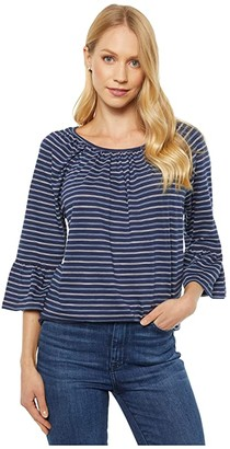 MICHAEL Michael Kors Bi-Color Railroad Stripe Gathered Peasant (Chambray) Women's T Shirt