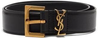 Saint Laurent Monogram Leather Black Buckle Belt - Black