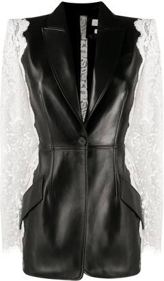Alexander McQueen Lace-Panelled Single-Breasted Blazer