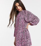 Asos DESIGN Petite oversized plisse smock dress in animal print