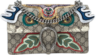 Gucci Beige/Multicolor GG Supreme Canvas and Python Small Dionysus Patchwork Shoulder Bag