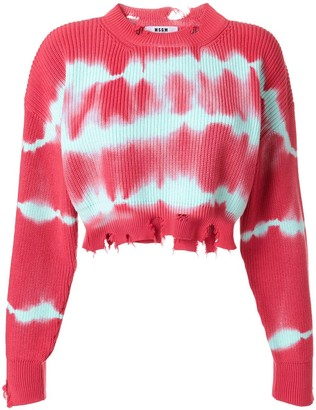 MSGM Tie-Dye Raw Edge Cropped Sweater