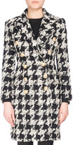 Balmain Double-Breasted Houndstooth Midi Coat, Black/White