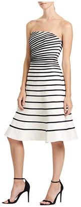 Halston Color-Block Strip Dress (Bone/Black) Women's Clothing