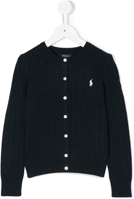 Ralph Lauren Kids Knitted Logo Embroidered Cardigan