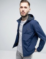 Farah Zip Up Hooded Jacket In Navy Nylon