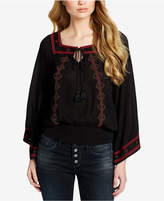 Jessica Simpson Juniors' Embroidered Bell-Sleeve Top