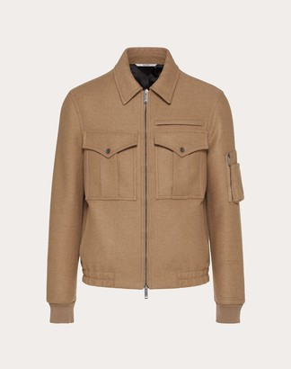 Valentino Blouson With Stitched Vlogo Man Camel Camel Wool 98% 44