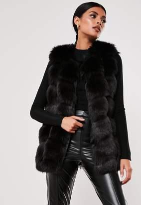 Missguided Black Faux Fur Bubble Gilet
