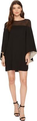 Halston Women's Flowy Sleeve Sheer Yoke Color Blocked Dress