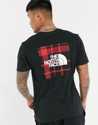 The North Face Red Box plaid print t-shirt in black