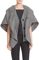 Milly Women's Double Face Wool Ruffle Cape Jacket