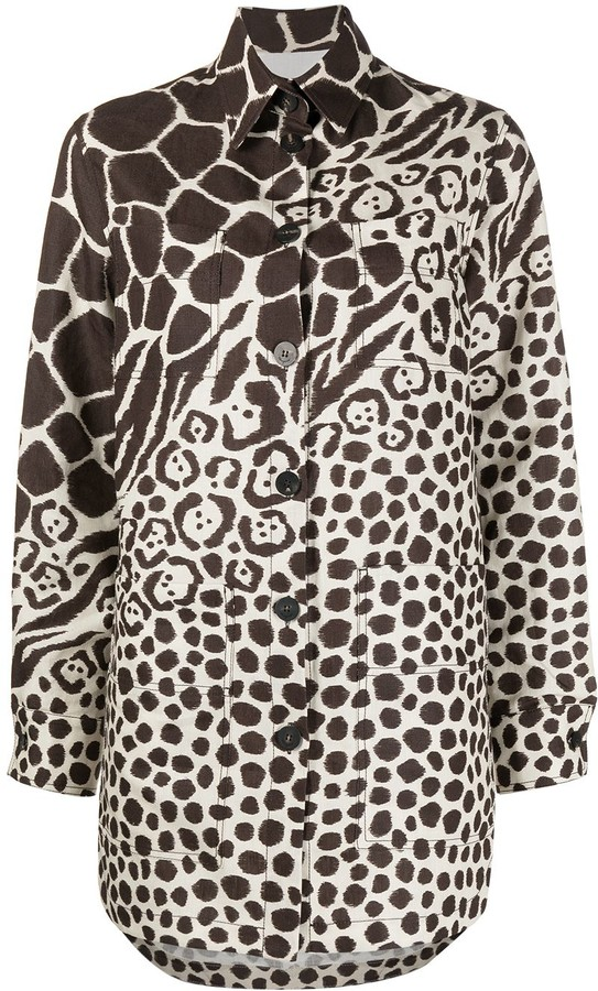 Salvatore Ferragamo Giraffe-Print Linen Shirt