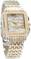 Geneva Platinum Crystal Two-Tone Embellished Square Bracelet Watch