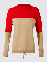 M&S Collection Pure Wool Colour Block Jumper