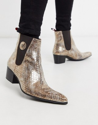Jeffery West sylvian chelsea boot with gold snake