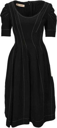 Marni Puff Sleeves Midi Dress