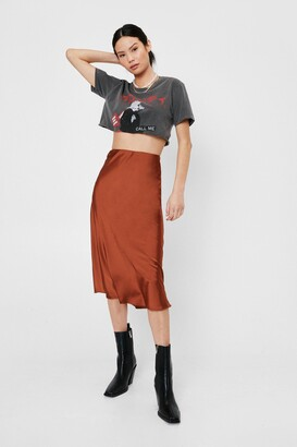Nasty Gal Womens Slipped and Fell Satin Midi Skirt - Tan