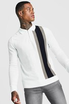 boohoo Mens White LS Half Zip Knitted Vertical Polo With Colour Block, White