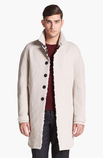 Burberry Trench Coat with Calf Hair Lapel Trim