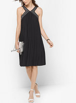 Michael Kors Grommet-Embellished Pleated A-Line Dress
