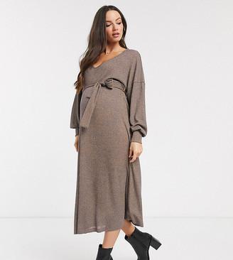 Asos DESIGN Maternity long sleeve oversized rib marl belted midi dress