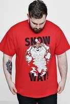 boohoo Big And Tall Snow Way Looney Tunes License T-Shirt