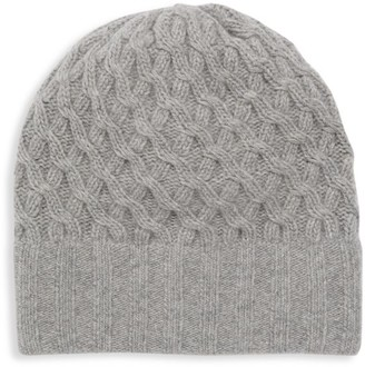 Portolano Basketweave Knit Cashmere Slouchy Beanie