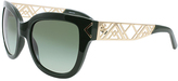 Tory Burch Green & Goldtone Cutout Oversize Sunglasses