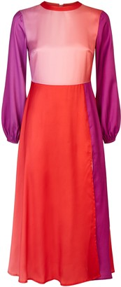 Traffic People Dalliance Backless Longsleeve Dress In Red And Purple